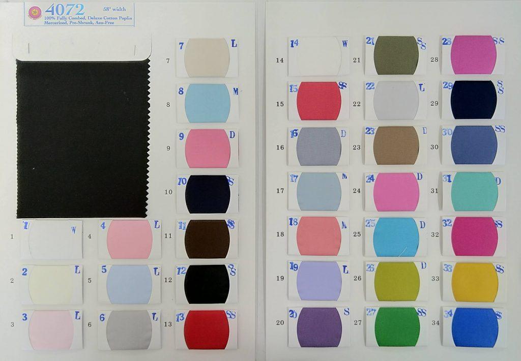 Wholesale Cotton Poplin Running colors